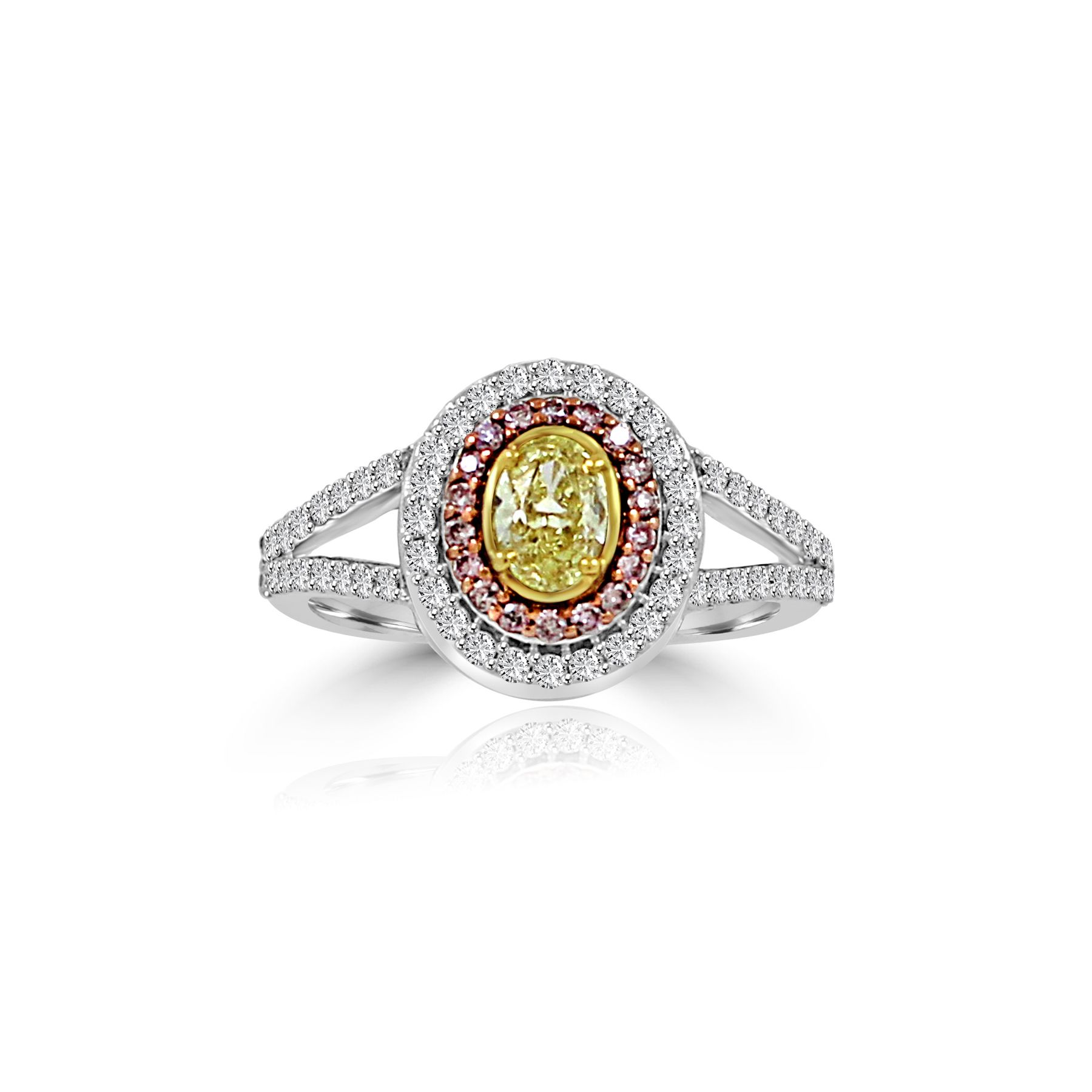Color Diamond Pink Diamond and Yellow Diamond Ring